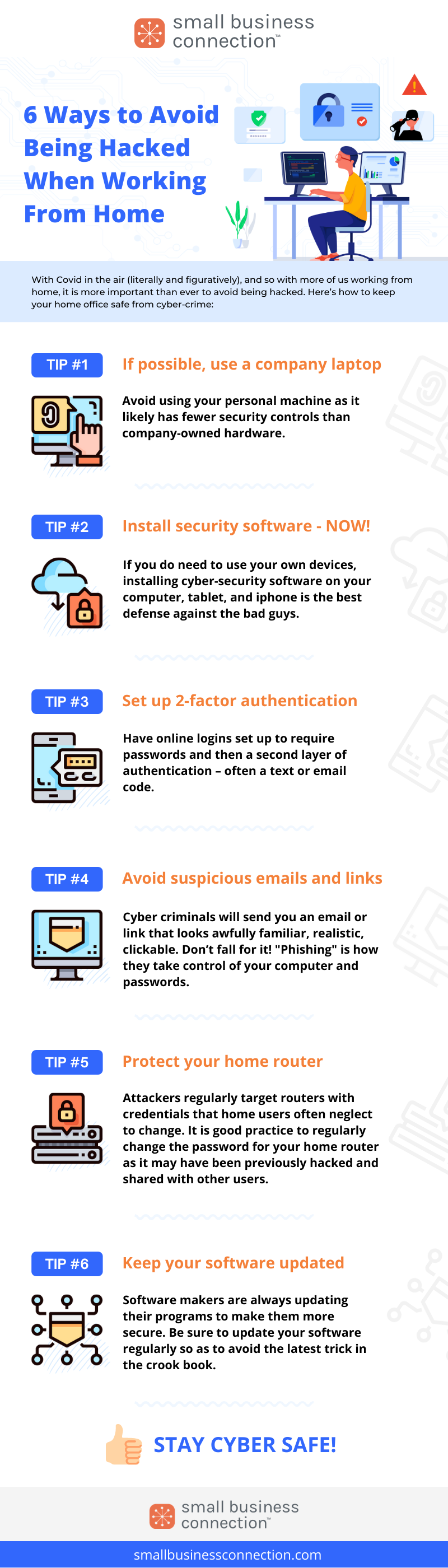 Infographic: 6 Ways to Avoid Being Hacked When Working From Home